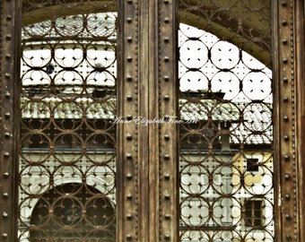 Italy Photograph, FIne Art, Mint Color, Tuscan, Tuscany, Italian Kitchen, Aged Door, Wrought Iron, Gate, Window,Quatrefoil,Wine Country,Dorm
