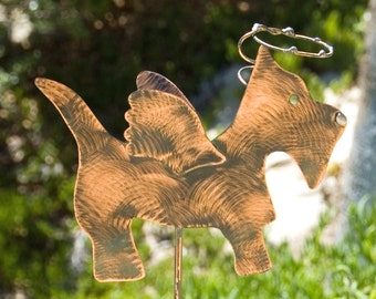 SCOTTISH Terrier Angel Dog Pet Memorial Grave Marker Lawn Ornament Rustic Metal Outdoor Animal Sign Patina Finish