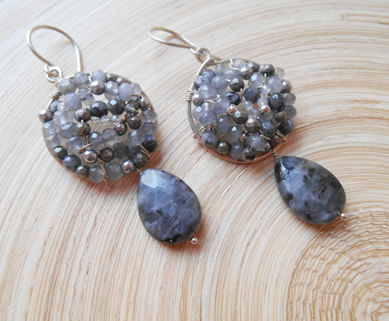 Sonnenfinsternis Edelstein Mosaik Creolen Schwarz Grau Perlen