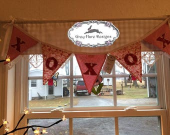 Hugs and Kisses, XOXOX FabricPennant Bunting