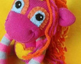 "Sen - 8.5"" Sock Unicorn Plush - Handmade Plush Doll"