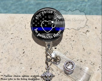 She Saves Lives Thin Blue Line Badge Reel,Nurse,Police,Wife,Badge Holder,Badge Reel,Blue Lives Matter,Retractable Badge Holder,MB457