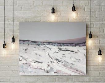 "Original snow painting, winter landscape Snow landscape, original wall art // Original Canvas wall decor 36""x29"" by MarinaInfanteArt"