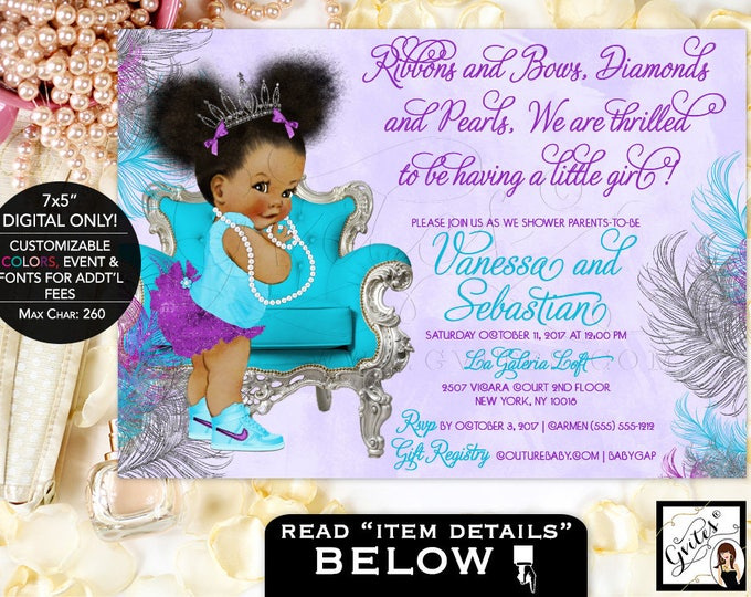 """Purple silver and turquoise baby shower invitations, tiara baby girl, afro puffs, ribbons bows, diamonds and pearls. 7x5"""" Afro Puffs. Gvites"""