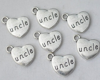 5 Pcs Uncle Charm Heart Charms Antique Silver Tone 2 Sided 15x17mm - YD0593