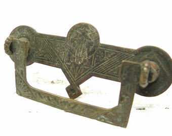 Antique Brass Aesthetic Victorian Style Drawer or Cabinet Pull - Antique Brass Hardware - Eastlake Hardware - Aesthetic Hardware