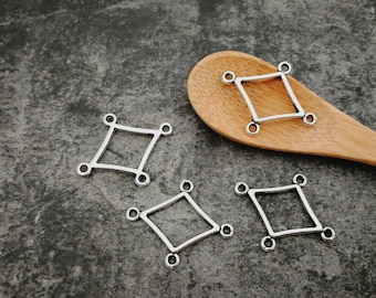 Diamond Chandelier connectors ethnic boho antique bronze, silver, 24 x 19 mm