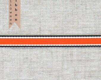 Orange with Black Stripes Grosgrain Ribbon