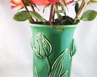 Green Glazed Tulip Pedestal Vase