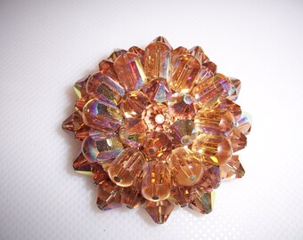 Heavy Vintage Amber AB Aurora Borealis Crystal Cluster Brooch Pin