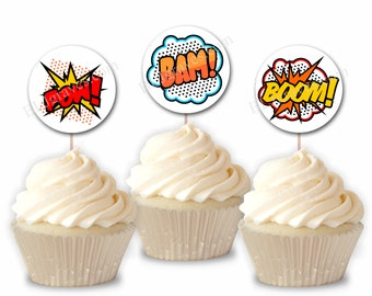 Super Hero Superhero Cupcake Toppers, Comic Birthday Party or Food Picks, Set of 12  CT011
