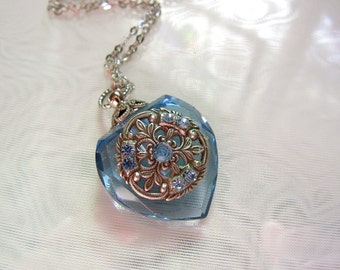 Vintage Inspired Blue Crystal  Heart Perfume Bottle Necklace by rtistmary