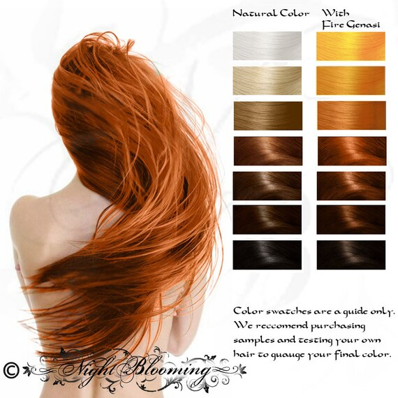 Bright Copper Fire Genasi Herbal Henna Hair Color and