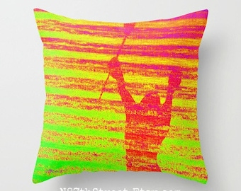"LACROSSE PLAYER 16"" X 16"" Pillow Cover. Photo Art by TMCdesigns. Green, Yellow, Orange, Pink. Funky. Sports. Athletic. Teens. Victory. Stick"