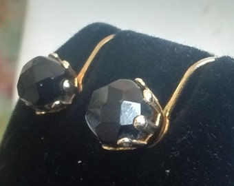 Faceted Black Bead Clip On Earrings