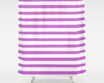 Purple Striped Shower Curtain, Girls Bathroom Decor, Purple Bath Curtain, Fabric Shower Curtain, Standard or Extra Long, Housewarming Gifts