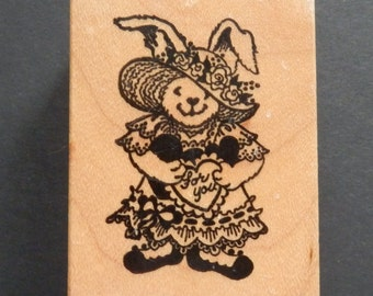 PSX D-515 - Love You Bunny - Retired Rubber Stamp (1)