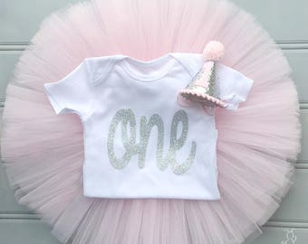 Pink and Silver First Birthday Outfit Girl, Cake Smash Outfit Girl, 1st Birthday Outfit Girl, First Birthday Tutu Set, SEWN Tulle Skirt Set