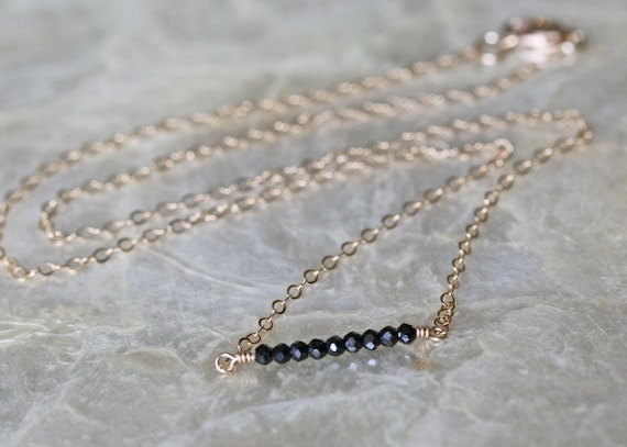 Minimal Spinel Layering Necklace in 14k Gold Filled or Sterling Silver Chain