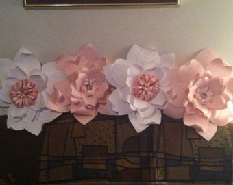Giant Pink and White Paper Wall Flowers - Set of 4