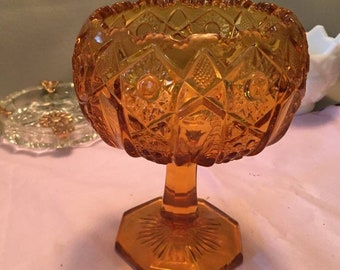 Vintage Amber Gold Candy Dish