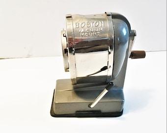 Vintage Boston Pencil Sharpener Vacuum Mount Desk Top Crank Mid Century Pencil Sharpener Hunt Mfg Co. Industrial
