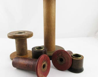 Six Industrial Weaving Spools - Thread/String/Yarn Spools - Vintage Wood and Metal - Wood With Metal Tips - Re-invented Candle Holders
