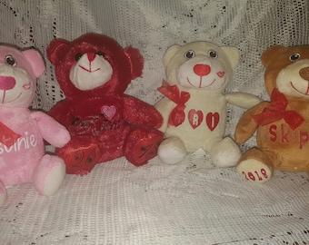 Personalized Plush Valentine's Day Bears - Stuffed Animals