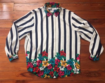 Silky striped floral blouse
