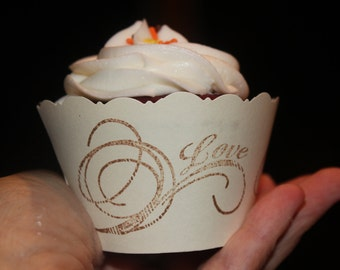 Wedding Cupcake Wrappers/ Love Cupcake Wrappers/Bridal Shower/Anniversary/Engagement/Customized