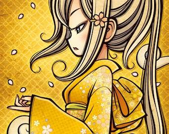 Breeze / Kimono Japanese Girl flower Print Poster wall Decor illustration Digital Art Instant Download