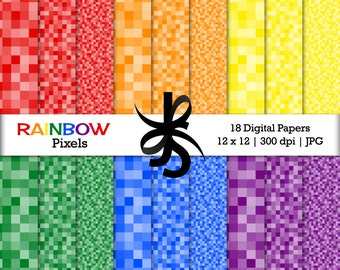 Digital Scrapbook Papers-Rainbow-Rainbow Pixels-Rainbow Papers-Rainbow Patterns-Pixelated Backgrounds-Instant Download Clip Art