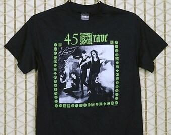45 Grave vintage rare T-shirt, black tee shirt, goth gothic, Germs, Gun Club, The Screamers, horror punk