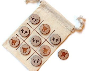 Stocking Stuffer - Tic Tac Toe Game - Unique Game - Christmas Gift Ideas for Kids - Gift under 15 - Fun Game - Montessori Play - Puzzle Game