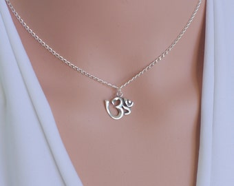 Om necklace, Ohm necklace, Om silver necklace, Spiritual jewelry, Yoga jewelry, Om pendant, Yoga necklace