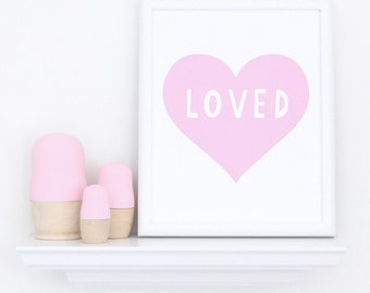 Nursery wall art, art for kids, kids room art, nursery decor art, heart wall art, you are loved art print, pink girls art, pink nursery art