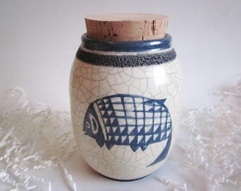 Raku Memorial urn, Pottery Urn, Med. pet urn, Ceramic cat Urn, Southwest Cremation Urn, Ashes Jar, Ashes Holder