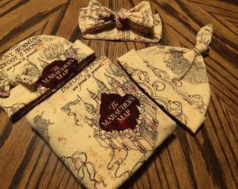 Harry Potter Marauders Map Newborn Swaddle Set Photo Prop