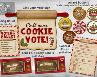 Cookie Exchange Holiday Cookie Swap Printable Kit Contest Printables editable instant voting ballot, award tags, rules, entry labels vintage