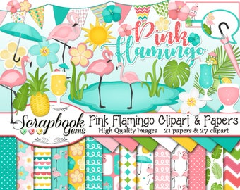 PINK FLAMINGO Clipart and Papers Kit, 27 png Clip Arts, 21 jpeg Papers Instant Download resort beauty day spa tropical drinks pineapple pond