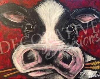 Custom Cow, Cow with Color, Colorful Cow, Farm Animals, Custom Art, Wall Decor, Farm Theme