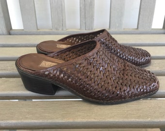 Woven leather mules size 6.5-7