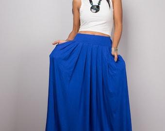 Maxi skirt, Long Blue Skirt with pockets, Full skirt, Handmade skirt, High waist women's skirt, Gathered skirt