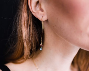 Mixed Tourmaline Stone Gold Filled Threader Earrings