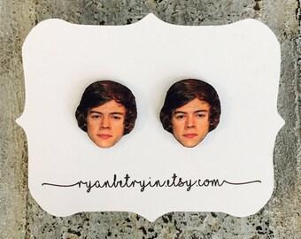 Harry Styles Earrings - Celebrity Earrings - Stud Earrings - One Direction - Harry Styles Studs - Harry Styles Jewelry - Quirky Earrings