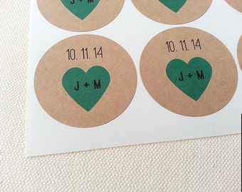 Custom Mason Jar Labels for Wedding Favors Round Stickers with Teal Hearts, Initials and Date