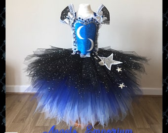 The Moon & Stars Halloween Costume Tutu Party Dress Sparkly Pageant Gala Ball Gown Black and Blue Tutu A Unique Gift.