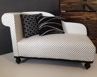 """READY TO SHIP Polka Dot Chaise Lounge for Dolls, Dollhouse furniture, 1:6 scale, 1/6 scale, 12"""" dolls"""