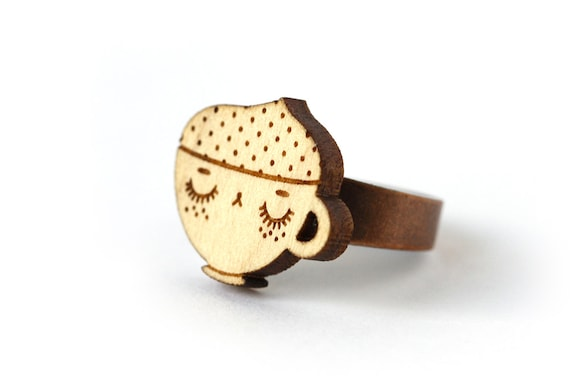 Cappuccino ring - wood - lasercutting - coffee cup ring - cute food jewelry - kawaii jewellery - graphic ring - lasercut maple wood