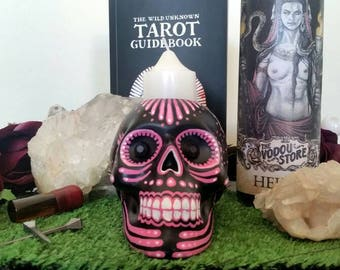 Hand painted dia de los muertos skull candle holder in pink tones